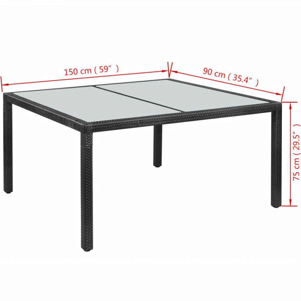 vidaXL Masă de grădină, negru, 150 x 90 x 75 cm, poliratan