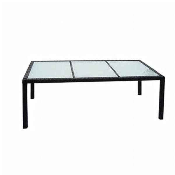 vidaXL Masă de grădină, negru, 190 x 90 x 75 cm, poliratan