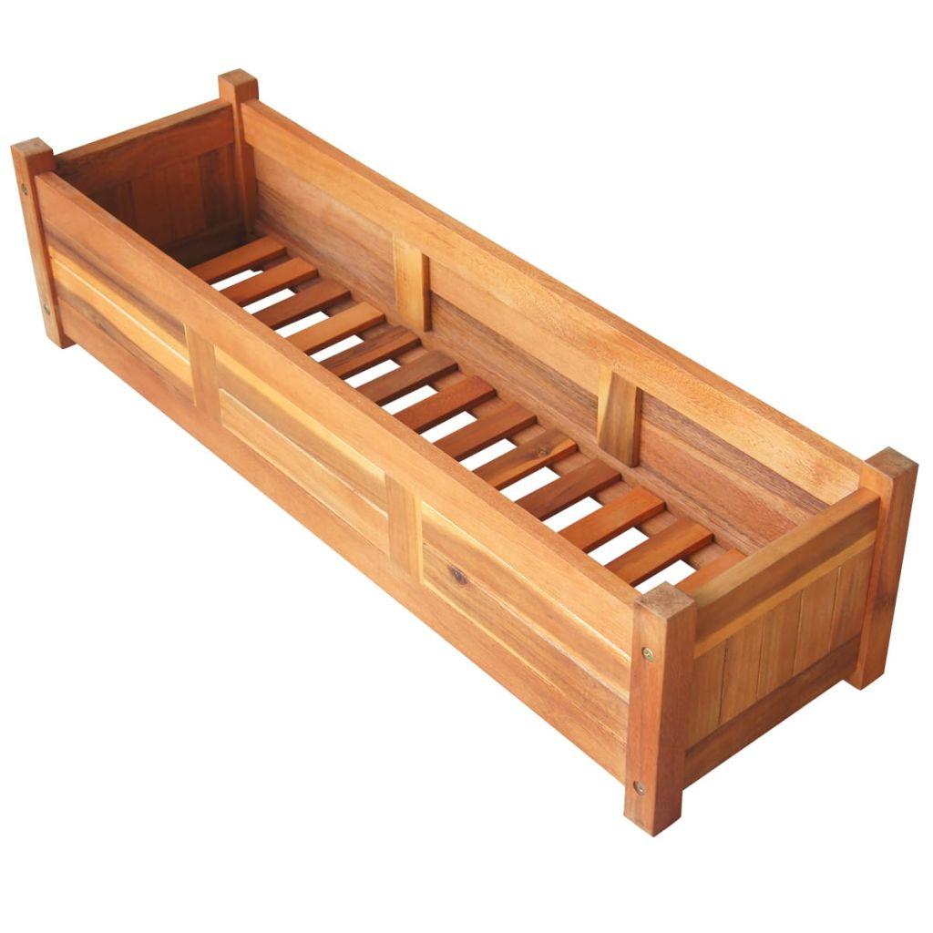 Strat înălțat de grădină, 100x30x25 cm, lemn de acacia