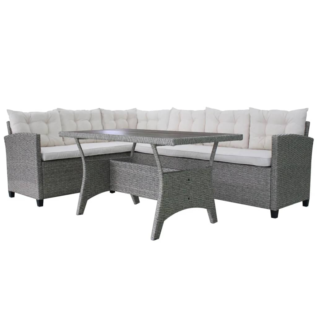 Set mobilier de grădină cu perne, 3 piese, gri, poliratan