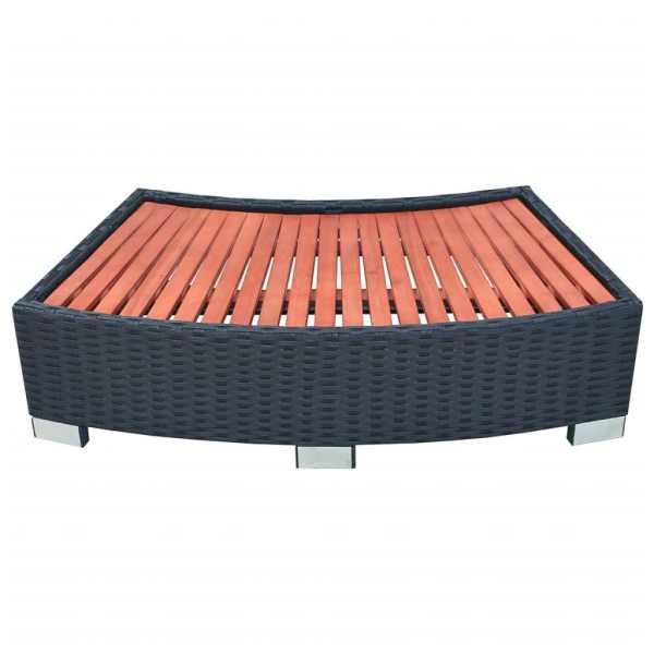 vidaXL Treaptă pentru spa, poliratan, 92 x 45 x 25 cm, negru