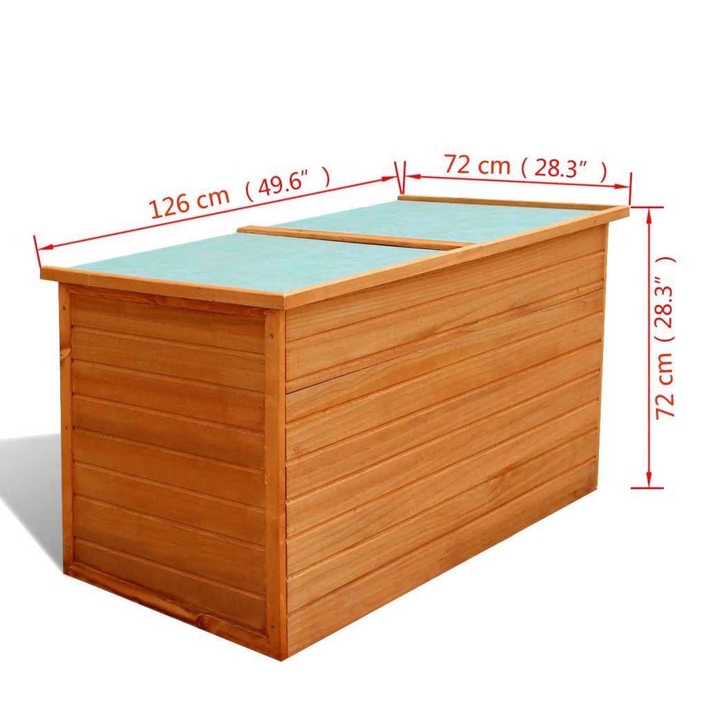 vidaXL Ladă de depozitare de grădină, 126 x 72 x 72 cm, lemn