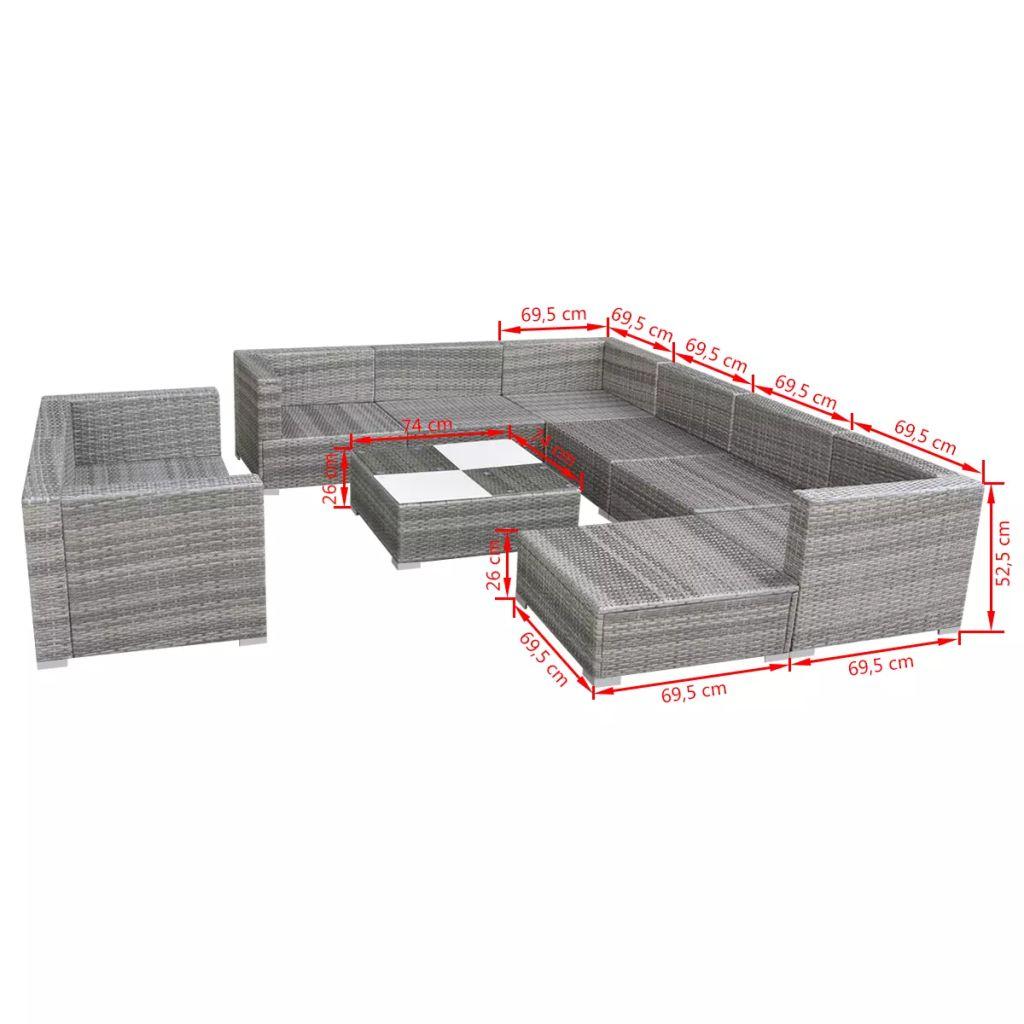 Set mobilier de grădină cu perne, 10 piese, gri, poliratan