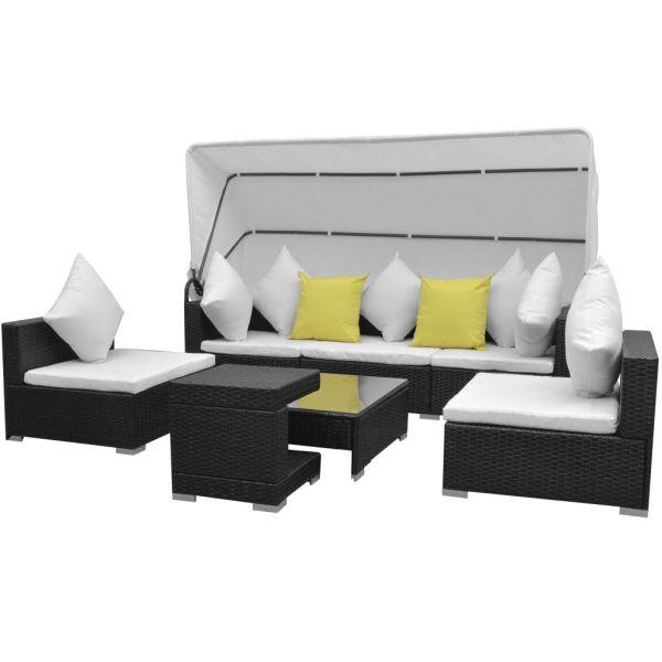 vidaXL Set mobilier de grădină cu baldachin, 7 piese, negru, poliratan