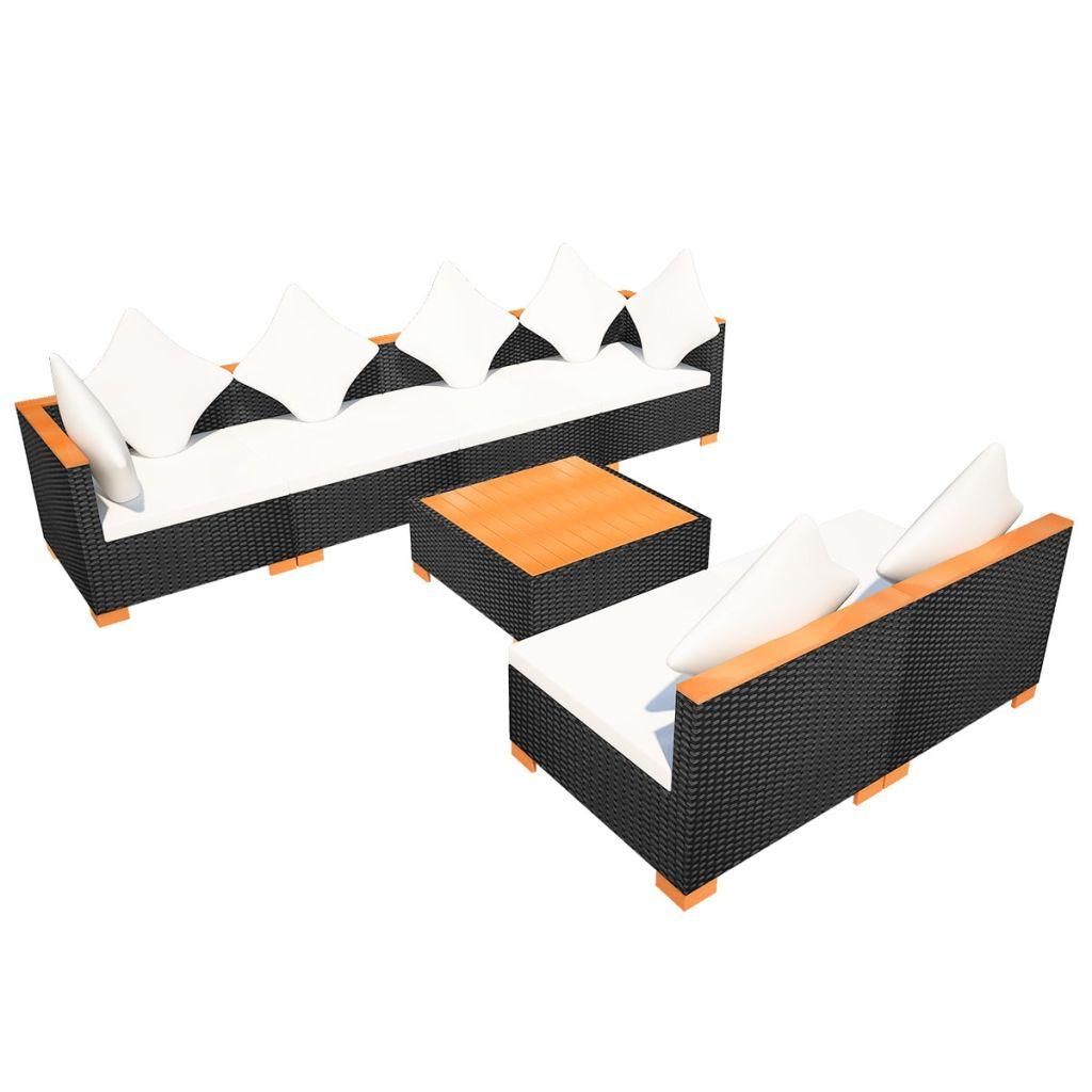 Set mobilier de grădină cu perne, 7 piese, negru, poliratan