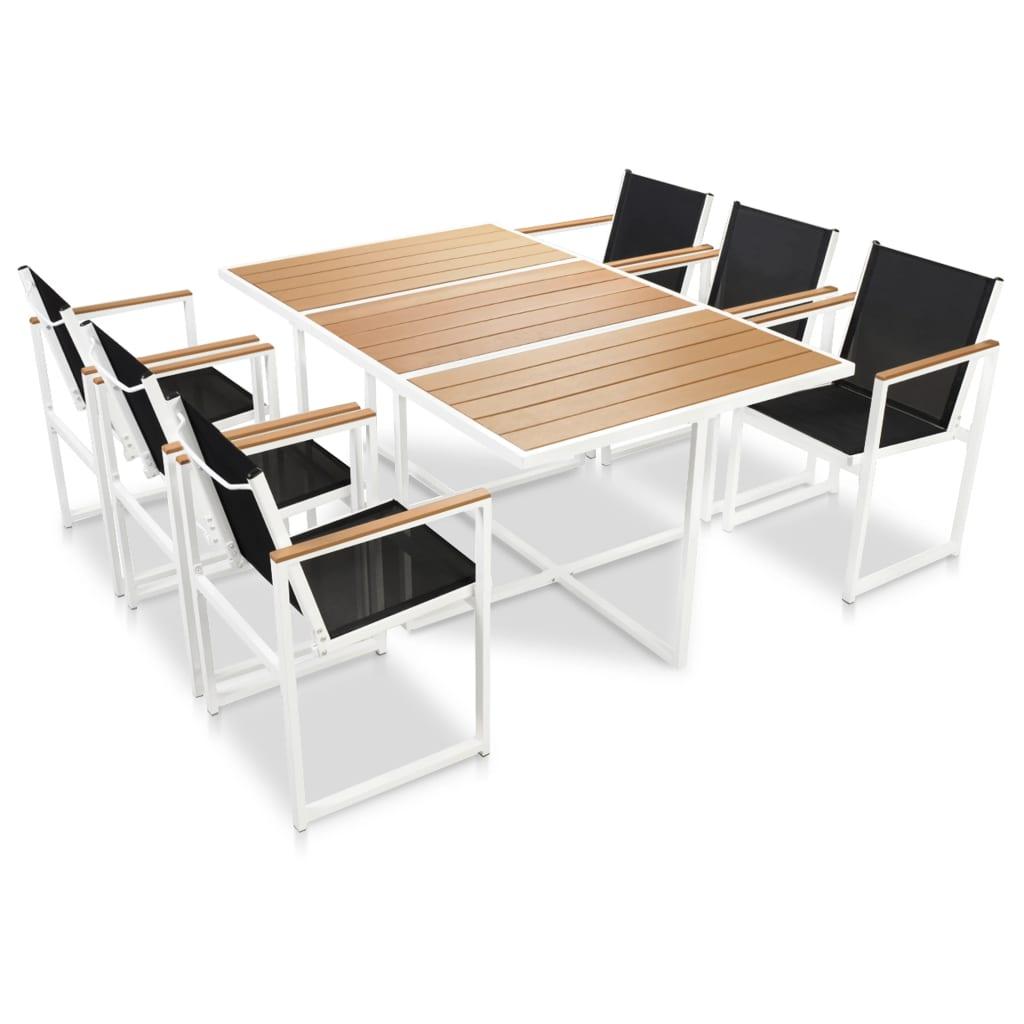 Set mobilier de exterior, 7 piese, cu blat din WPC și aluminiu