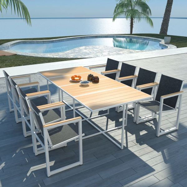 vidaXL Set mobilier de exterior, 9 piese, cu blat din WPC și aluminiu