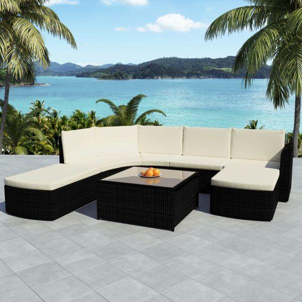 vidaXL Set mobilier de grădină cu perne, 5 piese, negru, poliratan