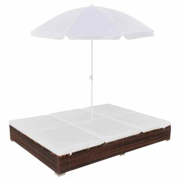 vidaXL Pat șezlong de exterior cu umbrelă, maro, poliratan