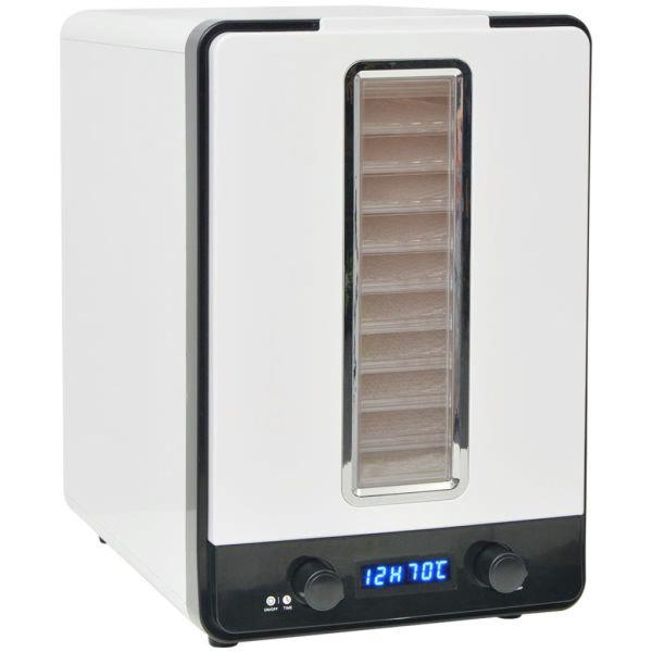 vidaXL Deshidrator de alimente cu 10 tăvi, 550 W, alb