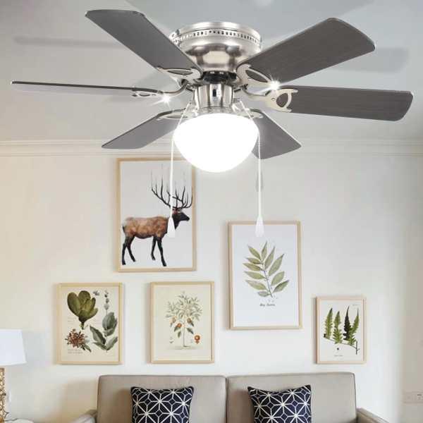 vidaXL Ventilator tavan decorativ cu iluminare, 82 cm, maro închis
