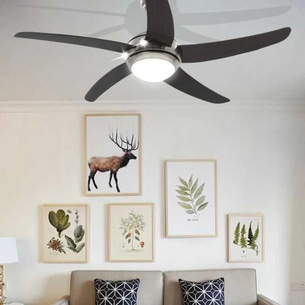 vidaXL Ventilator tavan decorativ cu iluminare, 128 cm, maro
