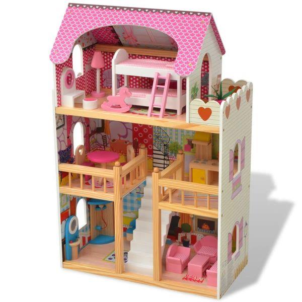 vidaXL Casă de păpuși cu 3 etaje, lemn, 60 x 30 x 90 cm