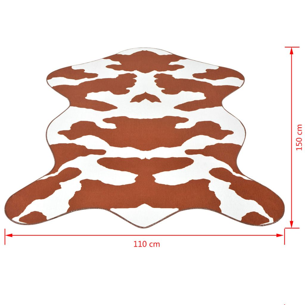 Covor decupat cu imprimeu vacă, 110 x 150 cm, maro