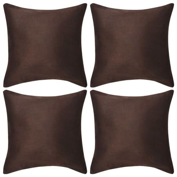 vidaXL Huse de pernă din velur poliester, 80 x 80 cm, maro, 4 buc.