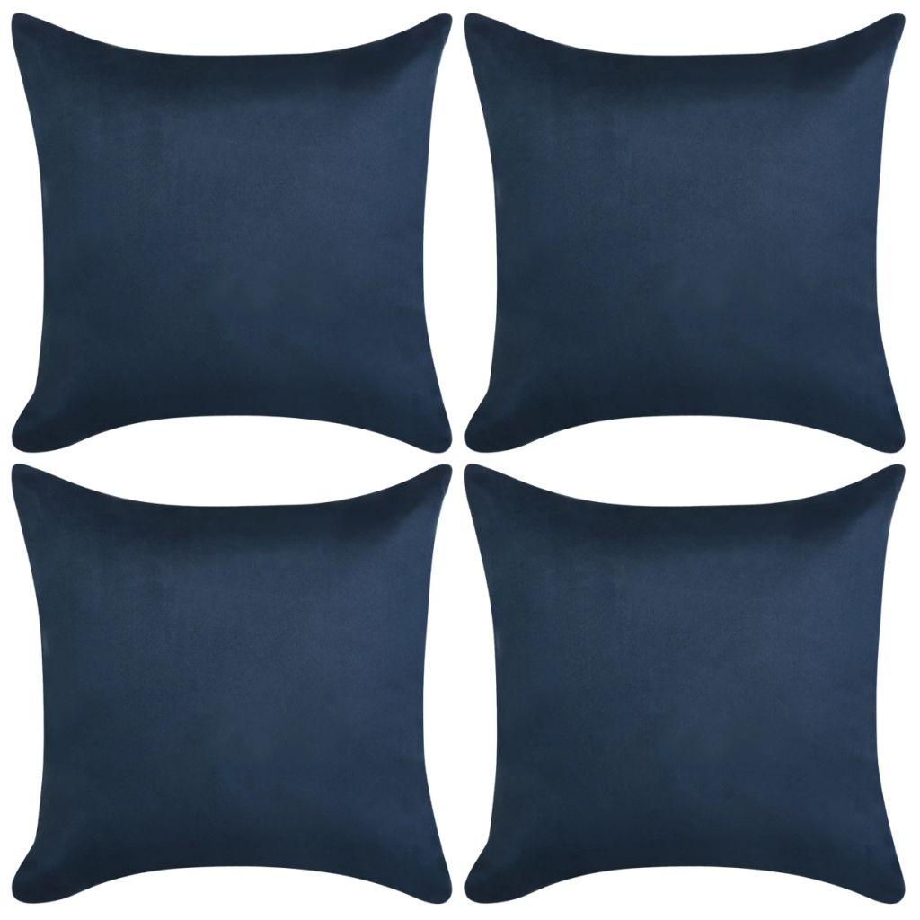 vidaXL Huse pernă, imitație piele întoarsă, 50×50 cm, bleumarin, 4 buc