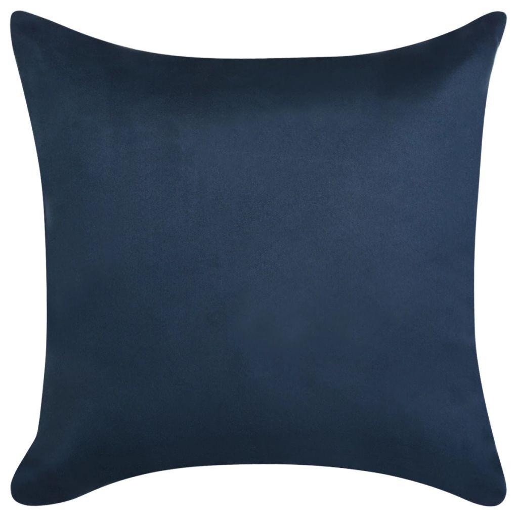 Huse pernă, imitație piele întoarsă, 50×50 cm, bleumarin, 4 buc