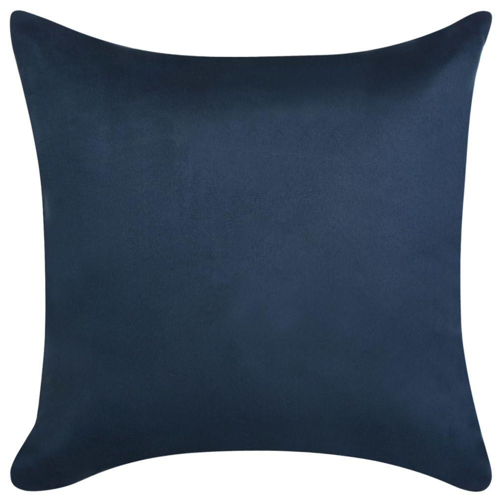 Huse de pernă din velur poliester, 80×80 cm, bleumarin, 4 buc.