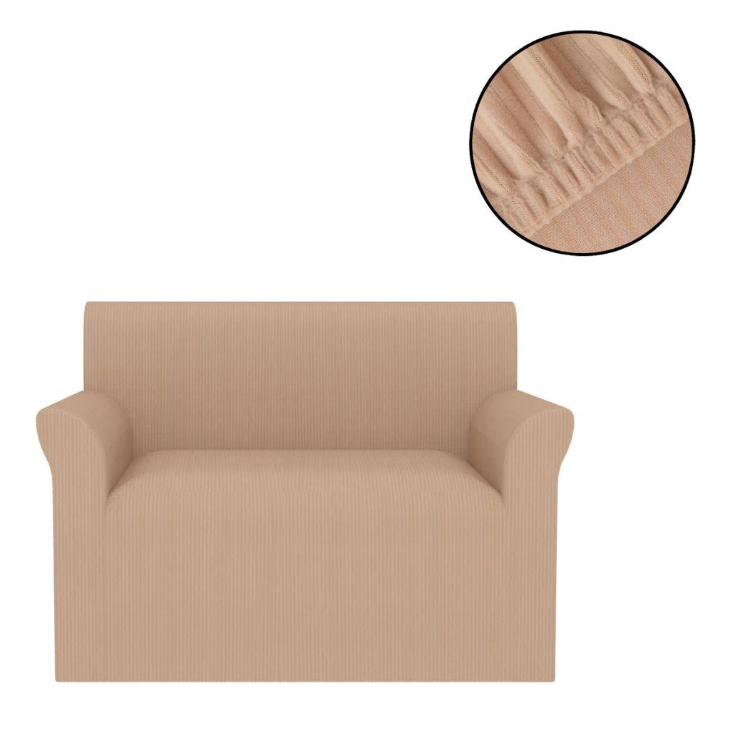 vidaXL Husă elastică pentru canapea, cu dungi late, bej