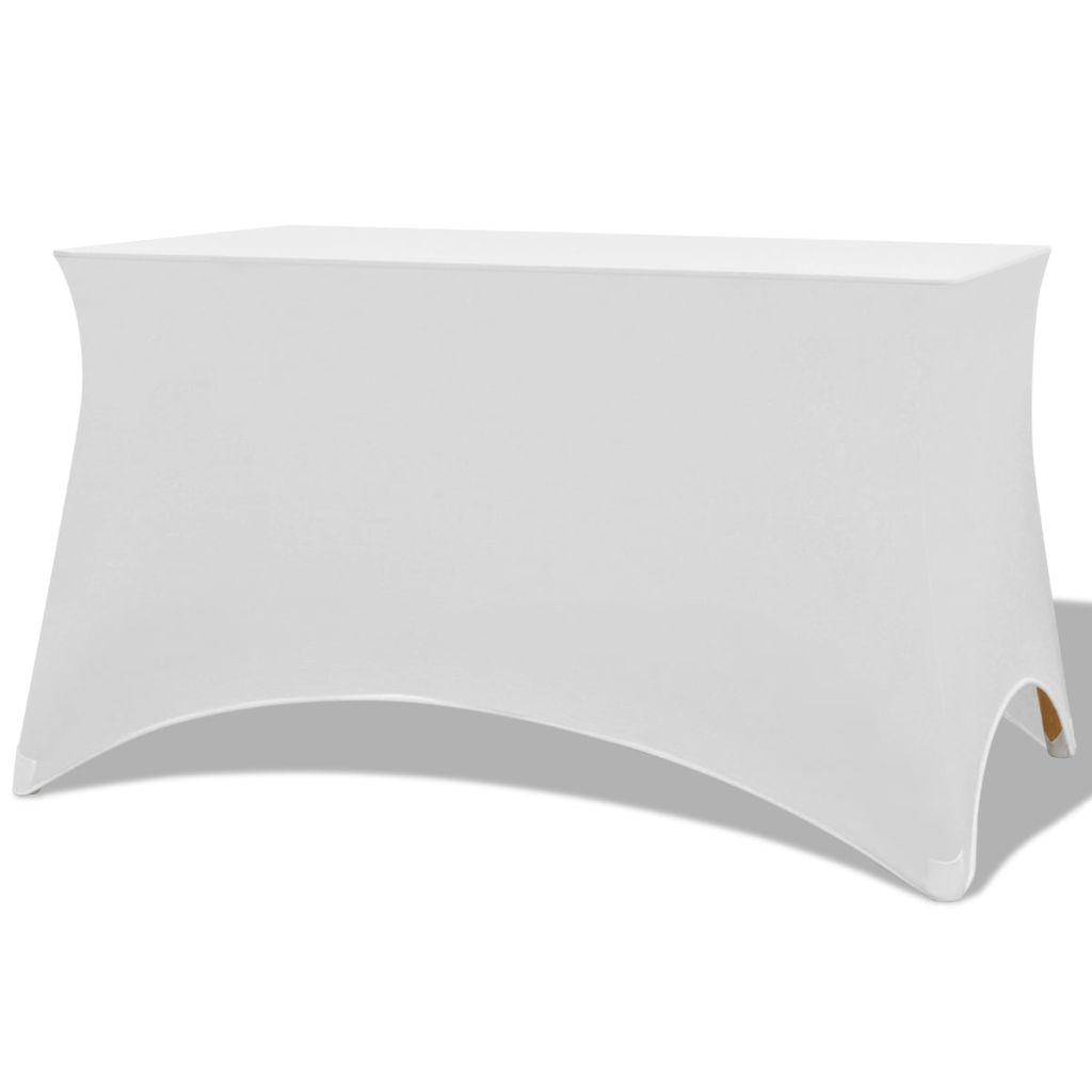 vidaXL Huse elastice pentru masă, 243 x 76 x 74 cm, alb, 2 buc.