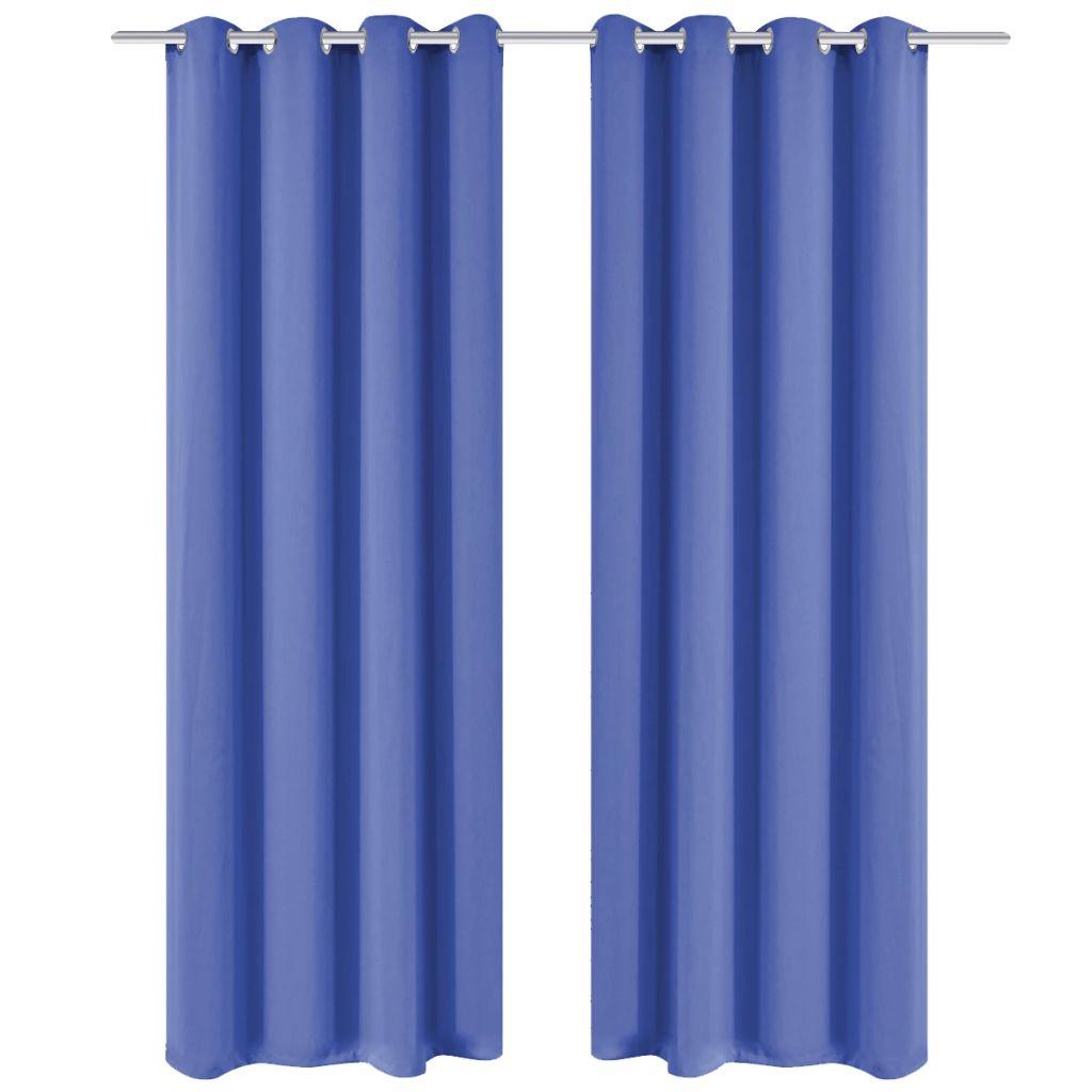 vidaXL Draperii opace cu ocheți metalici, 2 buc, 135×175 cm, albastru