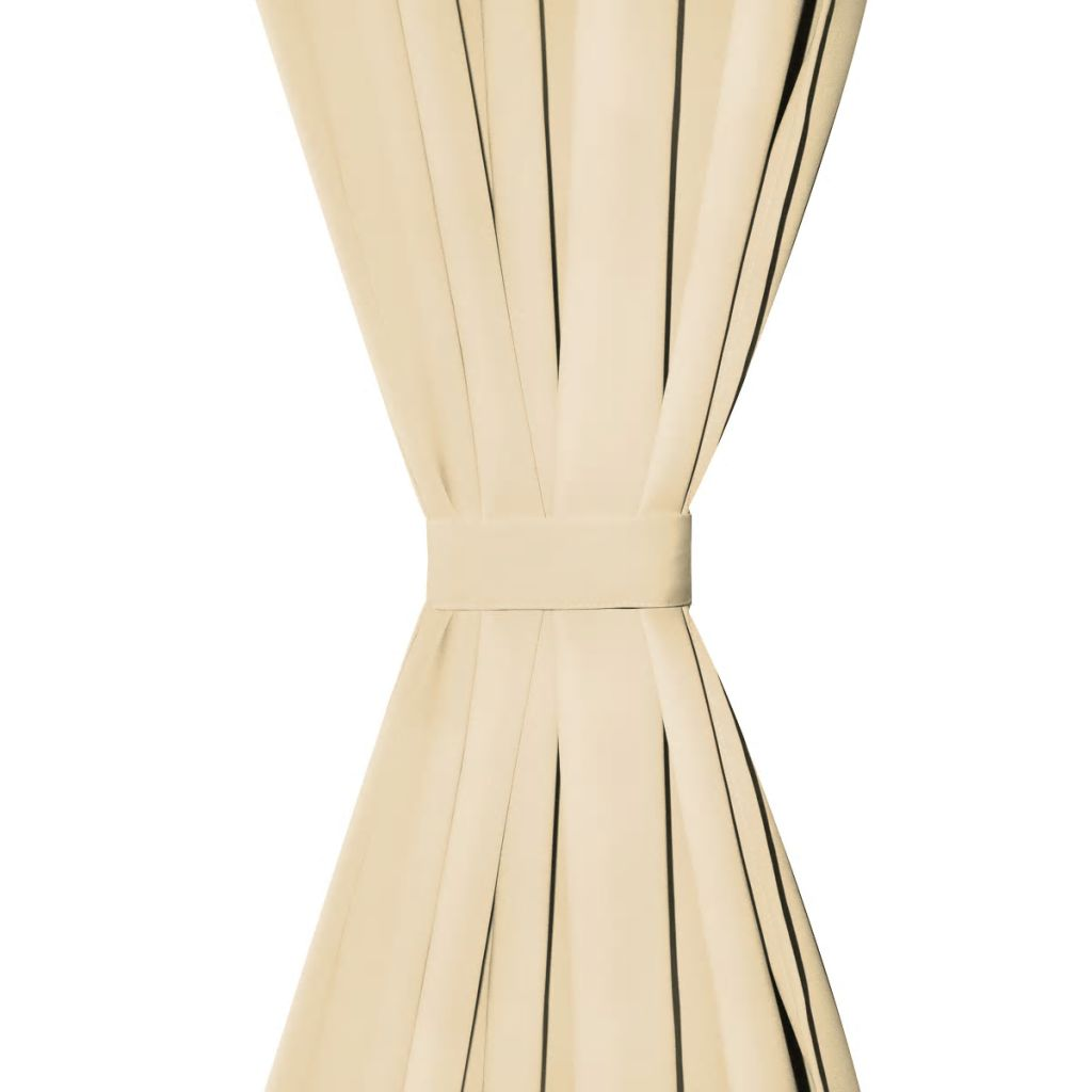 Draperii micro-satin cu bride, 2 buc, 140 x 245 cm, bej