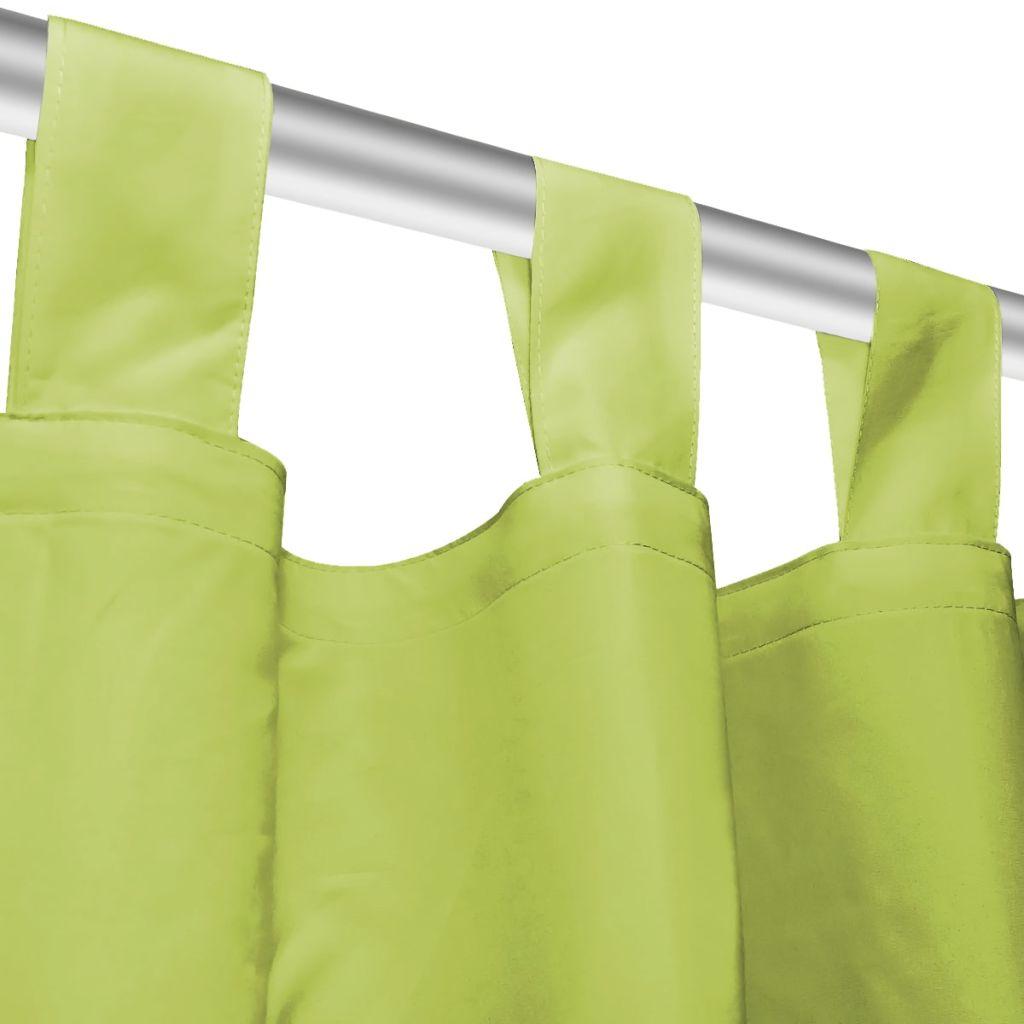 Draperii micro-satin cu bride, 2 buc, 140 x 225 cm, verde
