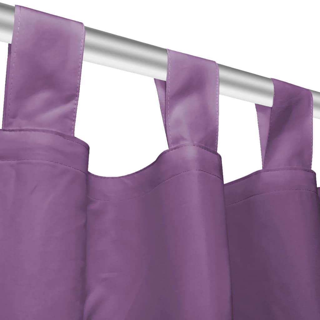 Draperii micro-satin cu bride, 2 buc, 140 x 225 cm, violet