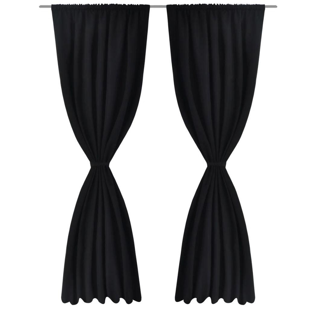 Draperii opace, 2 buc., strat dublu, 140 x 175 cm, negru
