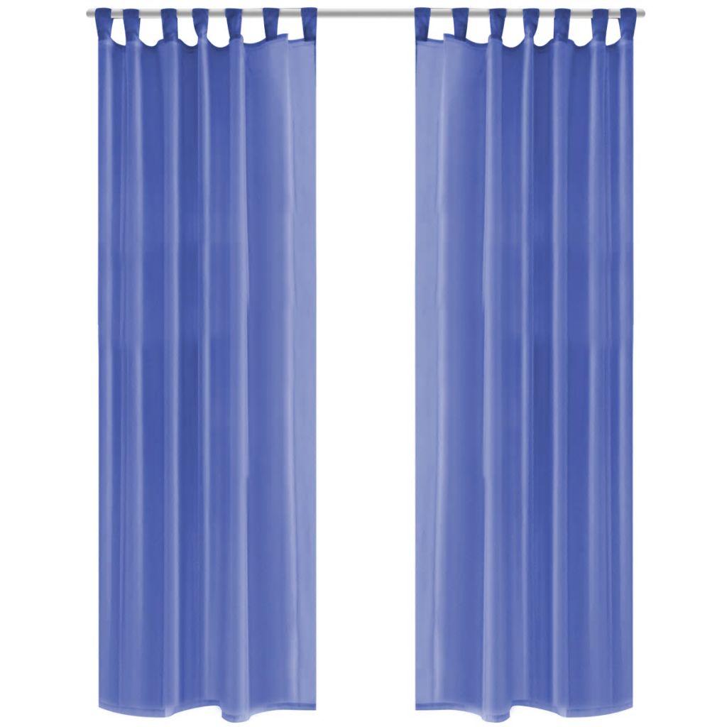 vidaXL Draperii din voal, 2 buc., 140 x 225 cm, albastru regal