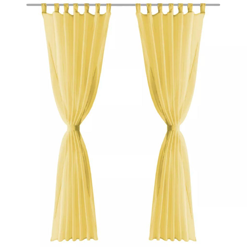 Draperii din voal, 2 buc., 140 x 175 cm, galben