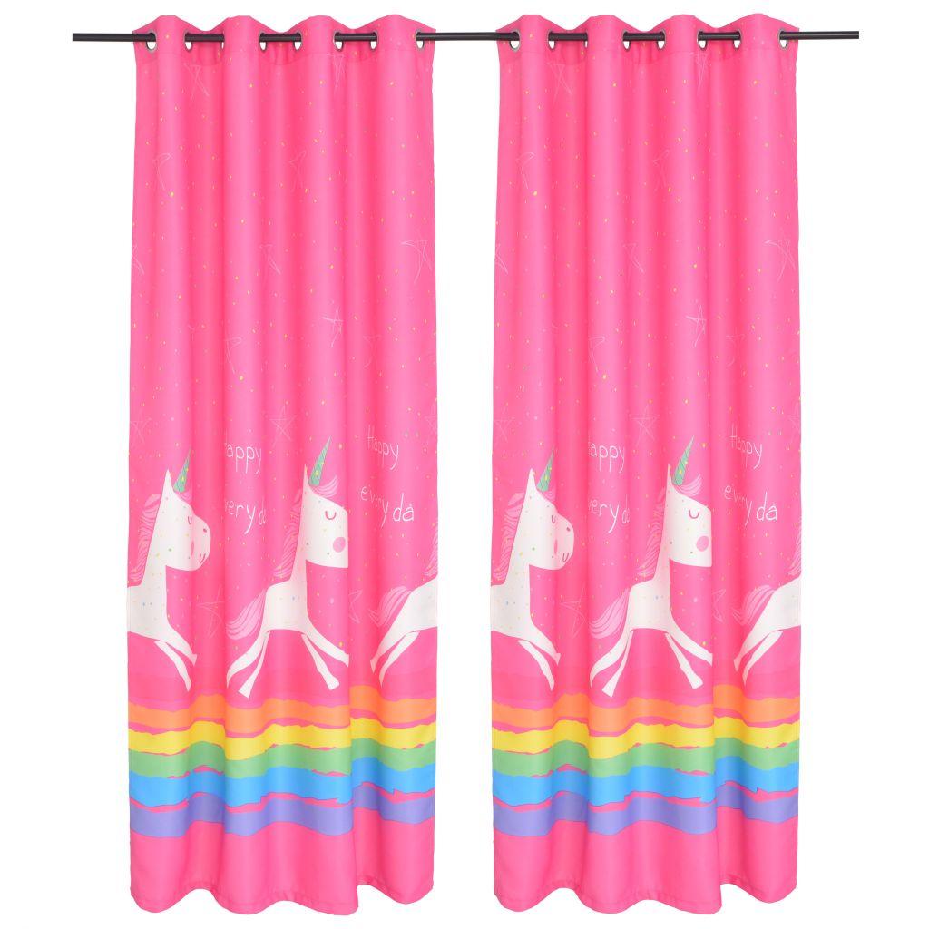 vidaXL Draperii opace pentru camera copiilor, 2 buc, 140×240 cm, roz