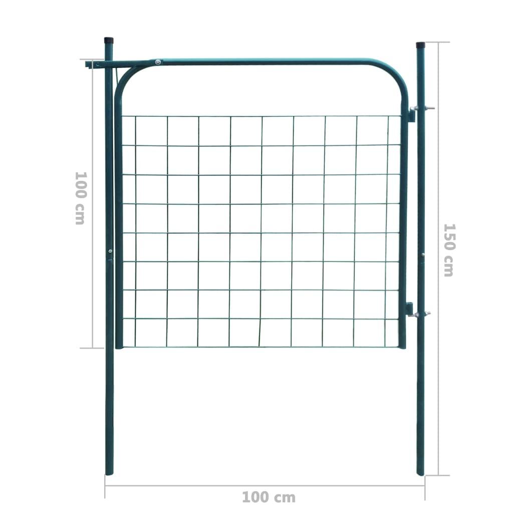Poartă pentru gard de gradină 100 x 100 cm verde
