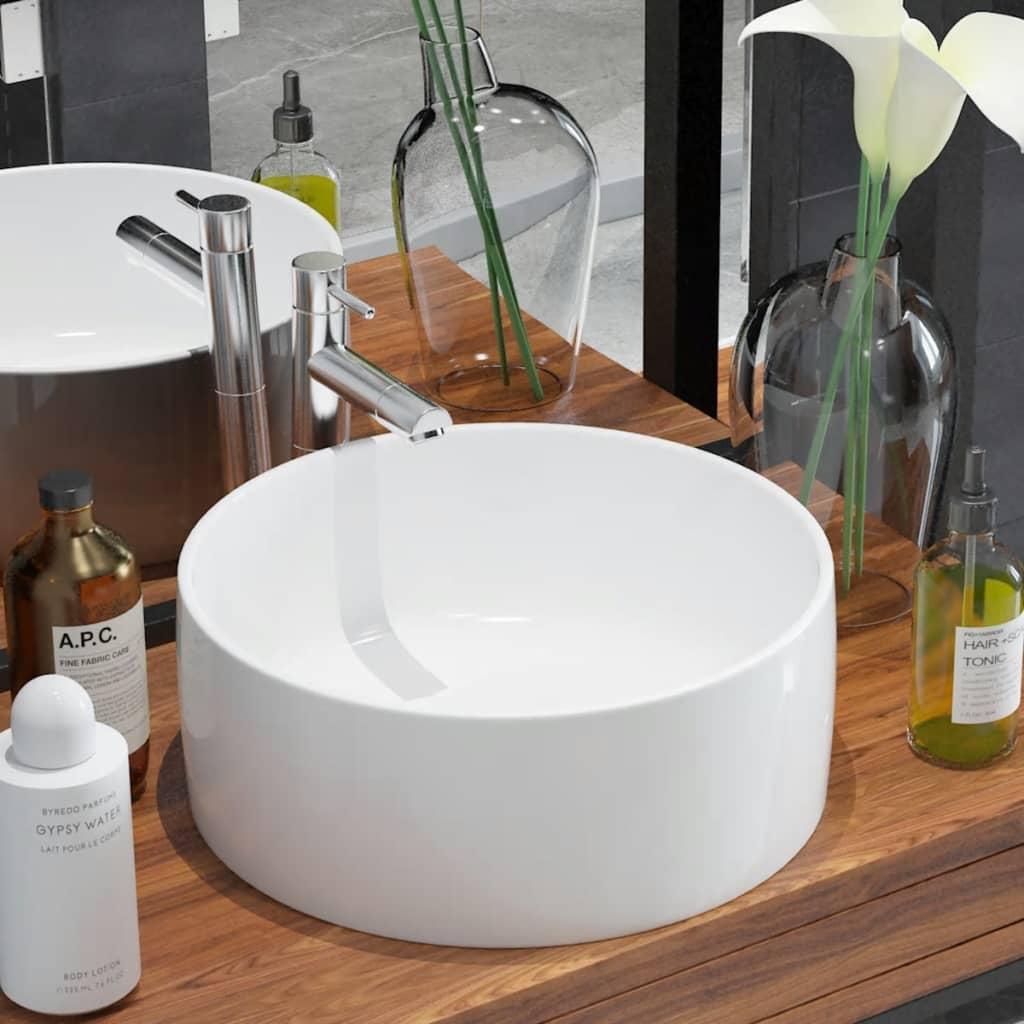 vidaXL Chiuvetă de baie din ceramică, rotundă, 40 x 15 cm, alb