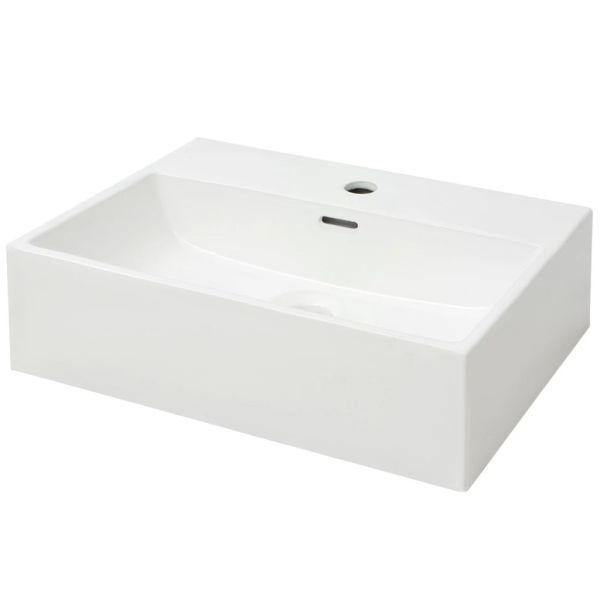 vidaXL Chiuvetă baie, orificiu robinet, ceramică, 51,5×38,5×15 cm, alb