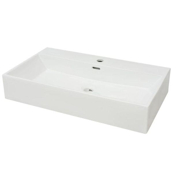 Chiuvetă baie, orificiu robinet, ceramică, 76×42,5×14,5 cm, alb