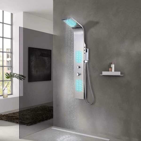 vidaXL Sistem panel de duș curbat, oțel inoxidabil