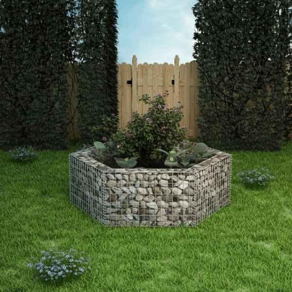 vidaXL Strat înălțat gabion hexagonal, 160 x 140 x 50 cm