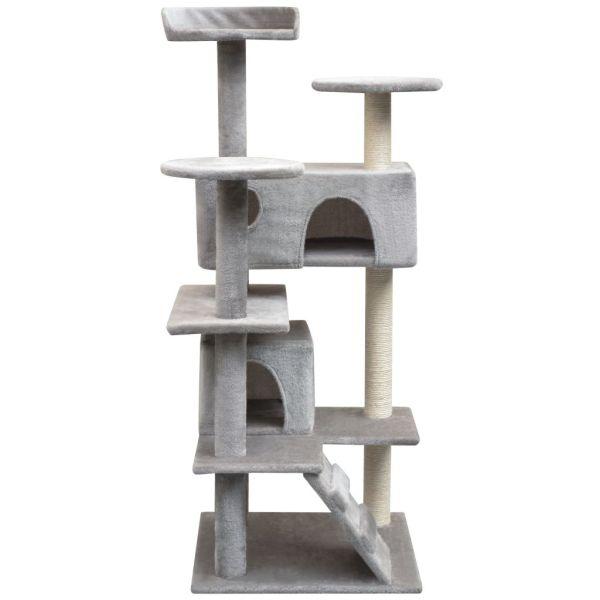 Ansamblu pentru pisici cu funie de sisal, 125 cm, gri