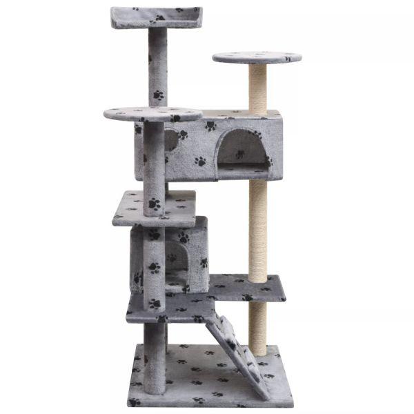 Ansamblu pisici cu funie de sisal, 125 cm, imprimeu lăbuțe, gri