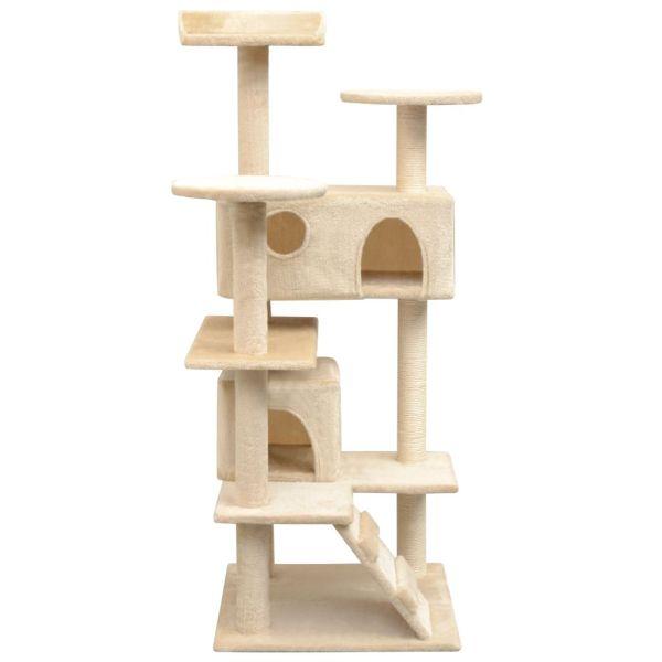 Ansamblu pentru pisici cu funie de sisal, 125 cm, bej