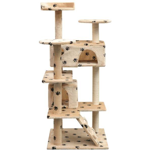 vidaXL Ansamblu pisici cu funie de sisal, 125 cm, imprimeu lăbuțe, bej