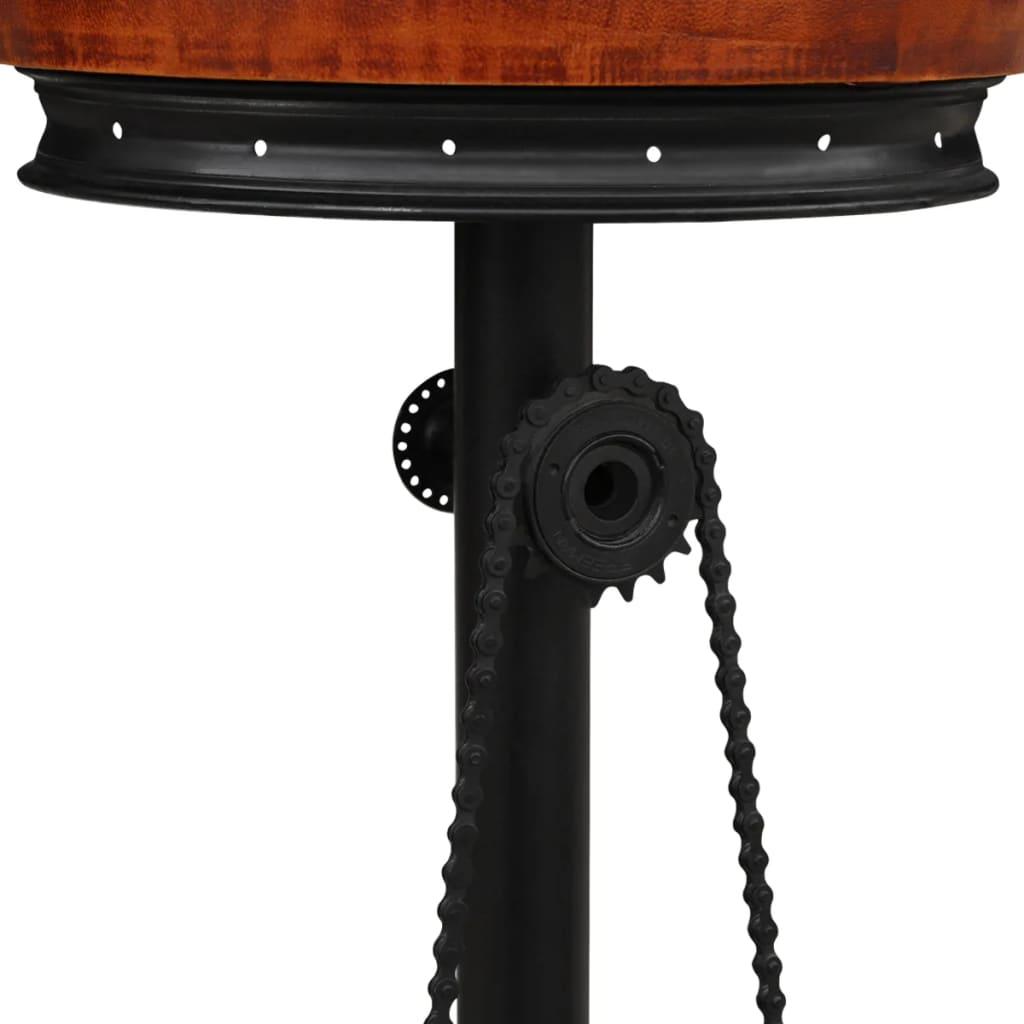 Scaun de bar, negru și maro, piele naturală