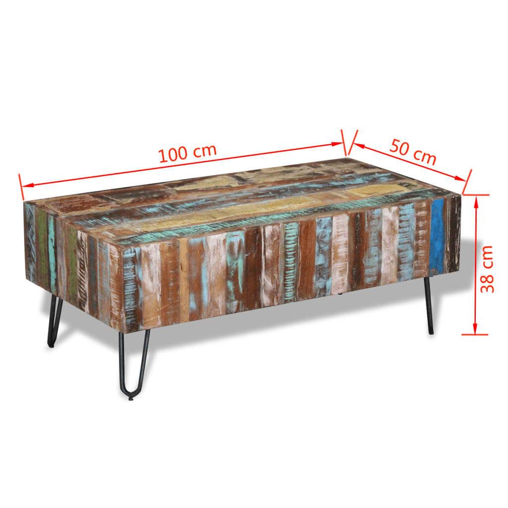 vidaXL Măsuță de cafea, lemn masiv reciclat, 100 x 50 x 38 cm