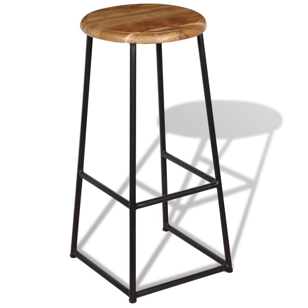 Scaune de bar, 2 buc., lemn de tec masiv