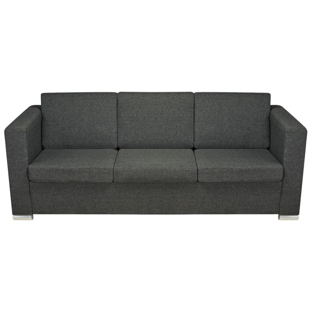 Canapea cu 3 locuri, gri închis, material textil