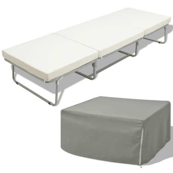 vidaXL Pat pliabil cu saltea, alb, 70 x 200 cm, oțel