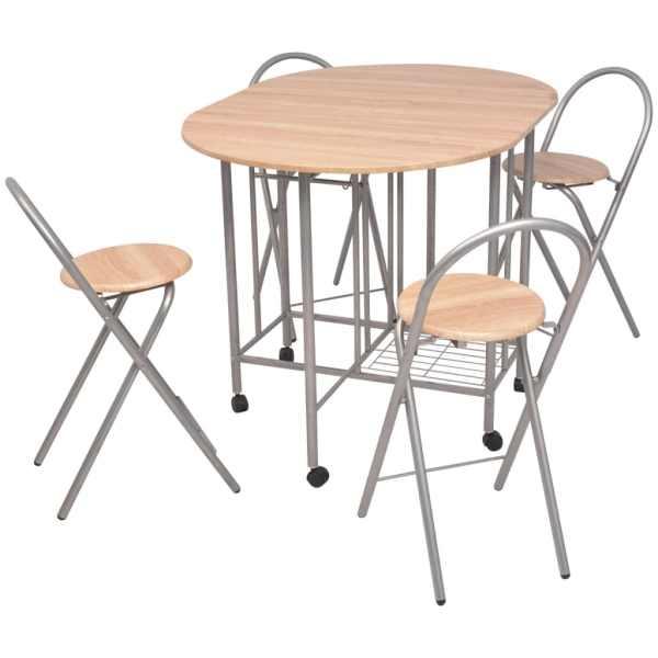 vidaXL Set masă și scaune de bucătărie pliabile din MDF, 5 piese