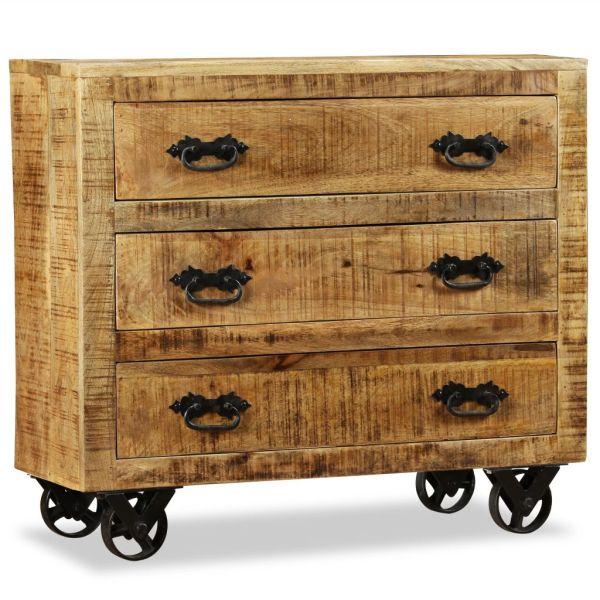 vidaXL Bufet cu 3 sertare, lemn nefinisat de mango