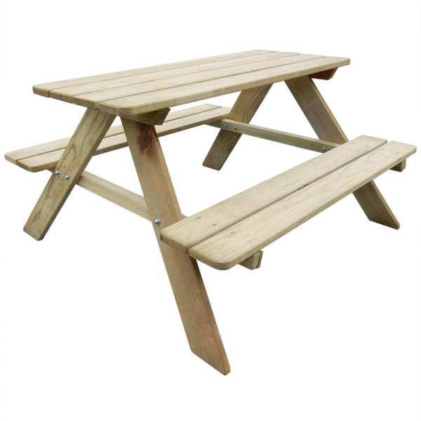 vidaXL Masă de picnic pentru copii, 89 x 89,6 x 50,8 cm, lemn de pin